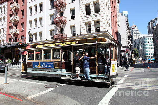 San Francisco Cable Car On Powell Street - 5d17957 Print by Wingsdomain Art and Photography