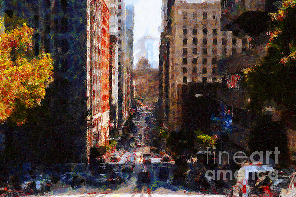 San Francisco California Street  . Painterly . 7d7186 Print by Wingsdomain Art and Photography