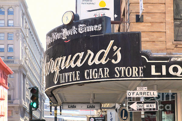 San Francisco Marquard's Little Cigar Store On Powell And O'farrell Streets - 5d17954 - Painterly Print by Wingsdomain Art and Photography