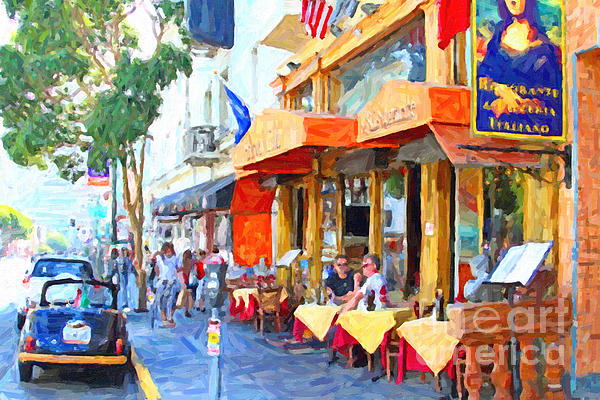 San Francisco North Beach Outdoor Dining Print by Wingsdomain Art and Photography