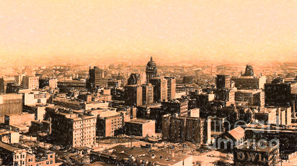 San Francisco Skyline 1909 Showing South Of Market Street Print by Wingsdomain Art and Photography