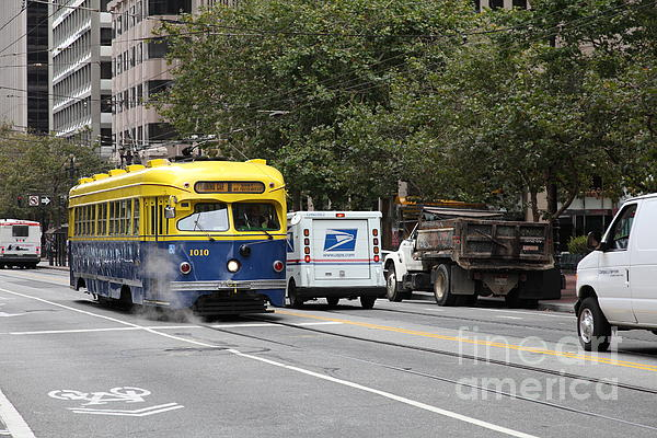 San Francisco Vintage Streetcar On Market Street - 5d17849 Print by Wingsdomain Art and Photography