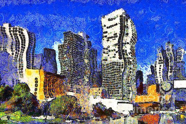 San Francisco Yerba Buena Garden Through The Eyes Of Van Gogh . 7d4262 Print by Wingsdomain Art and Photography