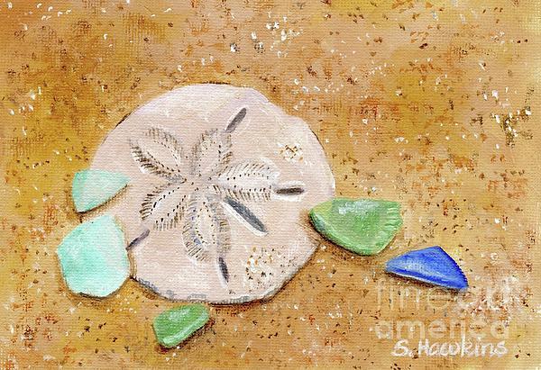 Sand Dollar And Beach Glass Print by Sheryl Heatherly Hawkins