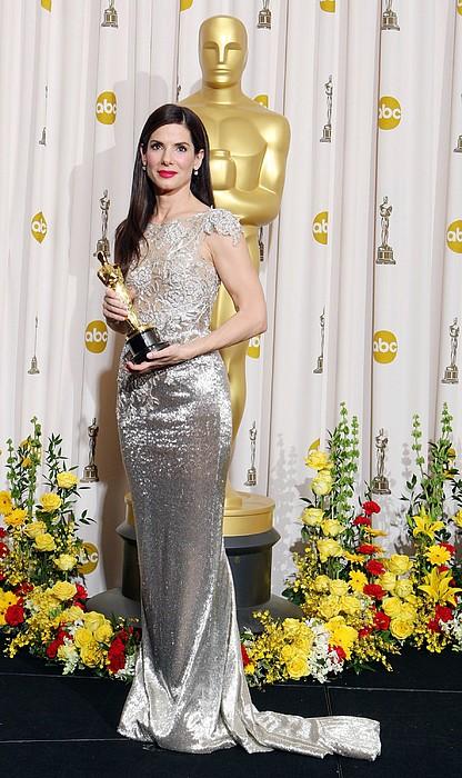 Sandra Bullock Wearing A Marchesa Gown Print by Everett