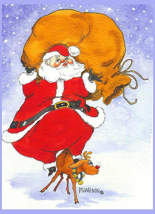 Santa And Rudolph Print by Peggy Wilson