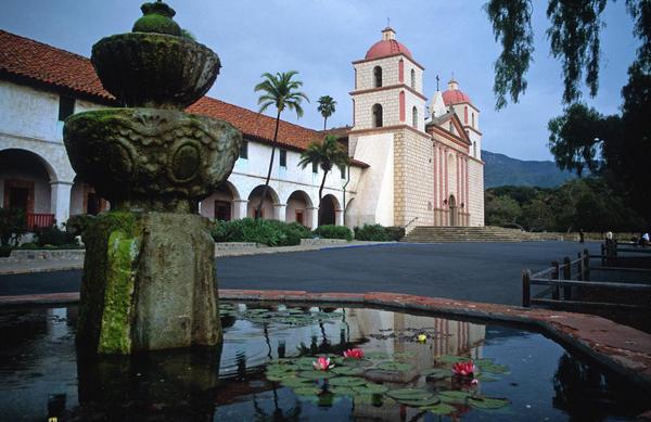 Santa Barbara Mission With Fountain 2 Print by Kathy Yates