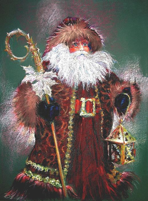 Santa Claus -dressed All In Fur From His Head To His Foot. Print by Shelley Schoenherr