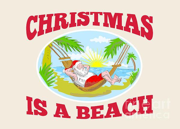 Santa Claus Father Christmas Beach Relaxing Print by Aloysius Patrimonio