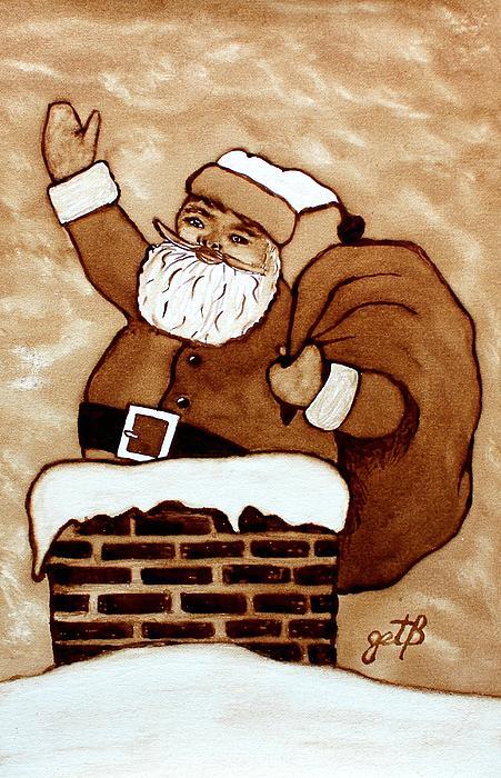 Santa Claus Gifts Original Coffee Painting Print by Georgeta  Blanaru