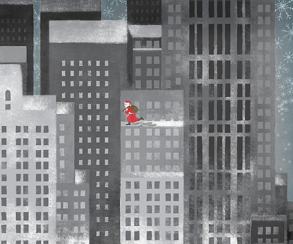 Santa Clause Running On A Skyscraper Print by Jutta Kuss