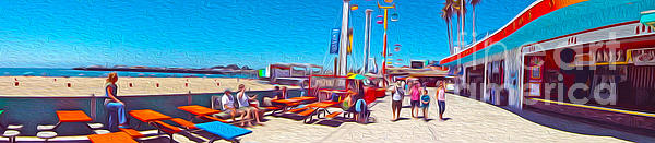 Santa Cruz Boardwalk - Panorama - 01 Print by Gregory Dyer