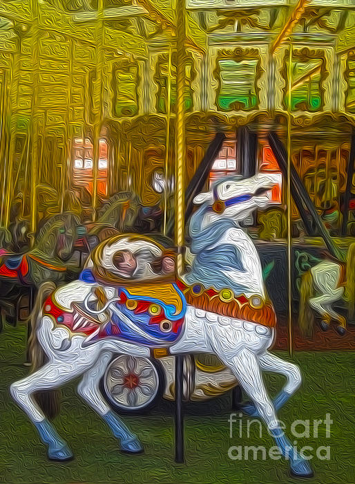 Santa Cruz Boardwalk Carousel Horse Print by Gregory Dyer