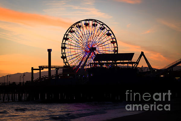 Santa Monica Pier Ferris Wheel Sunset Print by Paul Velgos