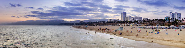 Santa Monica Sunset Panorama Print by Ricky Barnard