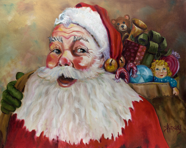 Santa With Bag Of Toys Print by Sheila Kinsey