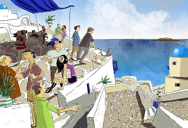 Santorini Rooftop  Print by Sean Hagan
