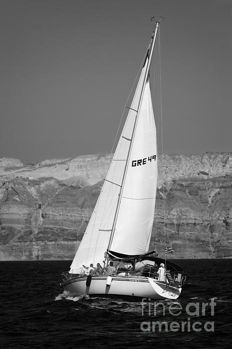 Santorini Sail Print by Leslie Leda