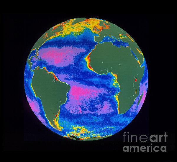 Satellite Image Of The Atlantic Ocean Print by Dr. Gene Feldman, NASA Goddard Space Flight Center