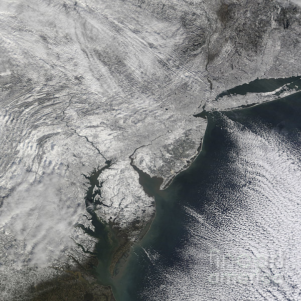 Satellite View Of A Noreaster Snow Print by Stocktrek Images