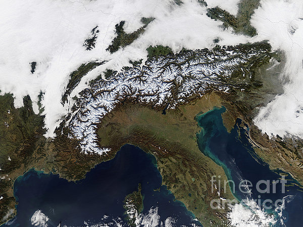 Satellite View Of The Alps Print by Stocktrek Images