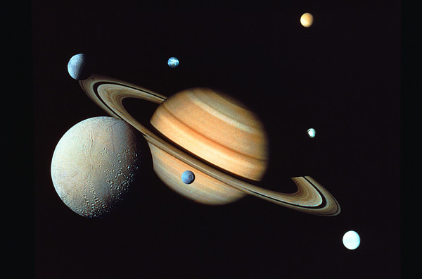 Saturn And Satellites Print by John Foxx
