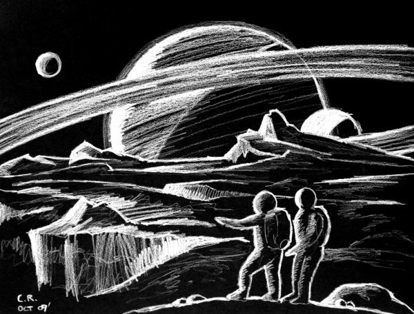 Saturn Visitors Print by Daniel Gouws