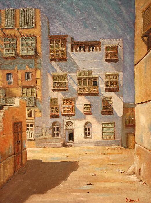 Saudi Old Jeddah 01 Print by Yvonne Ayoub