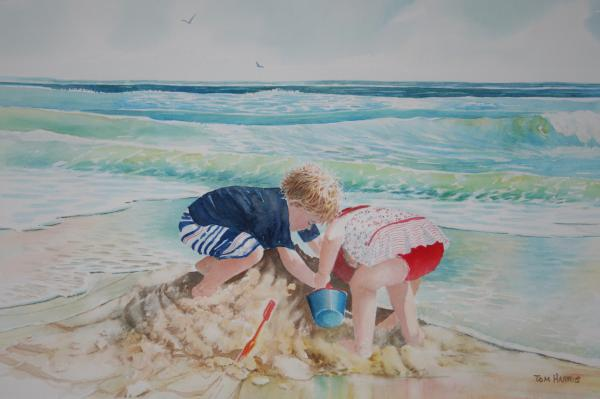 Saving The Sand Castle From The Tide Print by Tom Harris