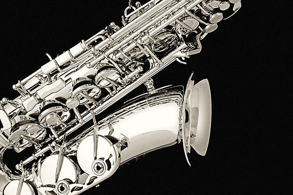 Saxophone Black And White Print by M K  Miller