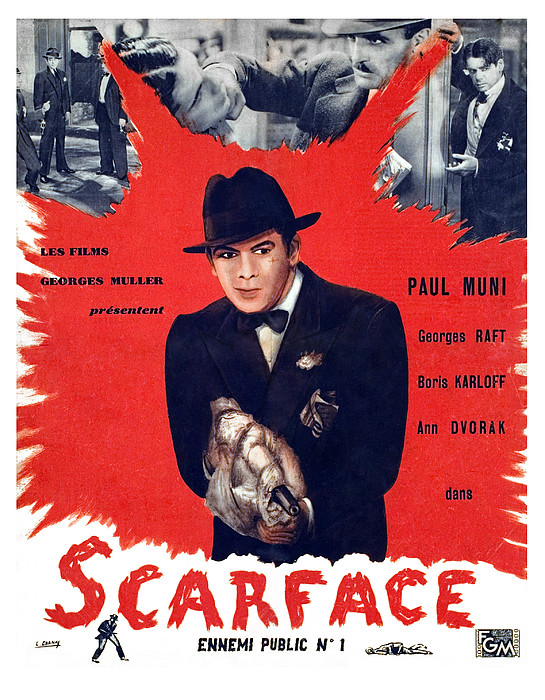 Scarface, Paul Muni, 1932 Print by Everett