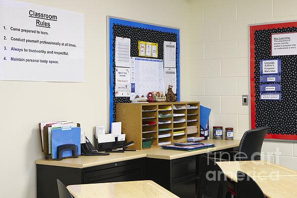 School Teachers Desk Print by Skip Nall