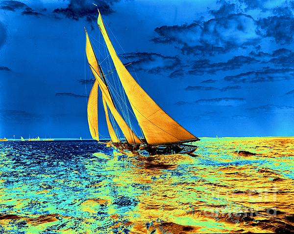 Schooner Ariel's Golden Sails 1899 Print by Padre Art