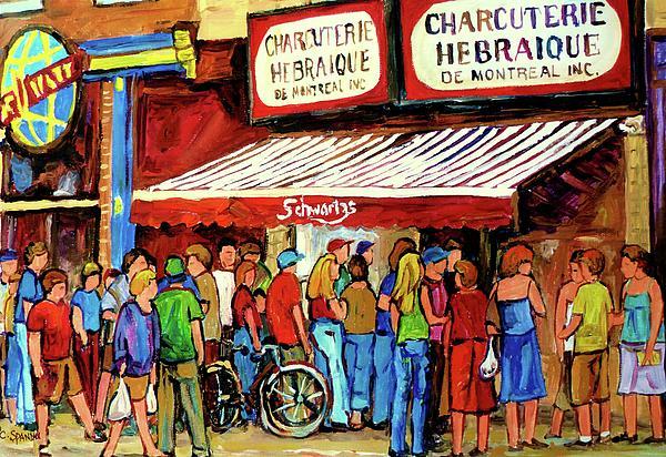 Schwartzs Deli Lineup Print by Carole Spandau