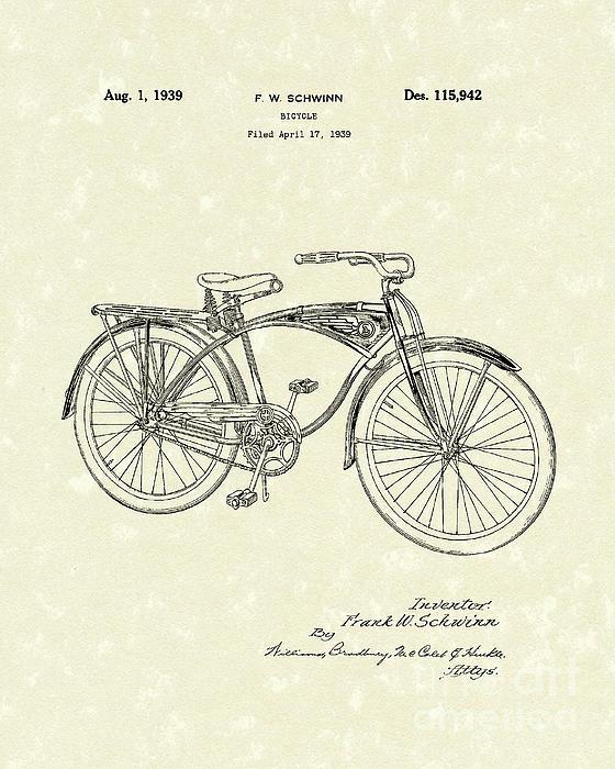 Schwinn Bicycle 1939 Patent Art Print by Prior Art Design