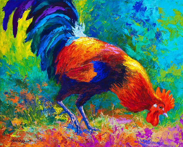 Scratchin - Rooster Print by Marion Rose