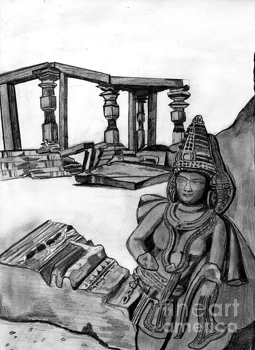 Sculptures And Monuments Print by Shashi Kumar
