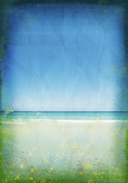 Sea And Sky On Old Paper Print by Setsiri Silapasuwanchai