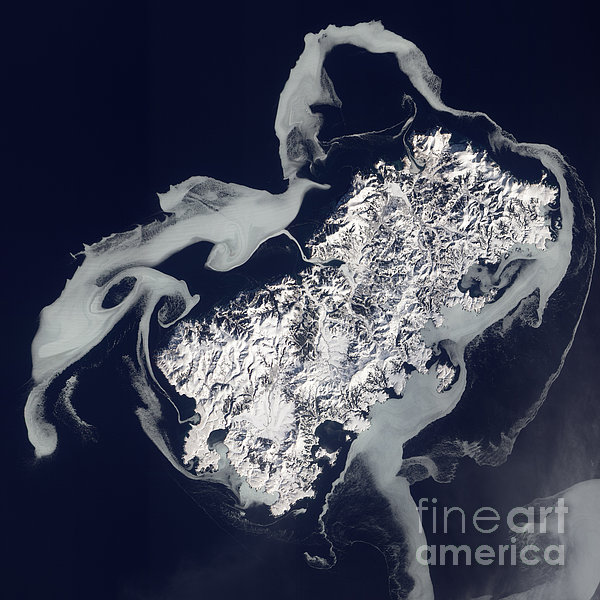Sea Ice Surrounds The Volcanic Island Print by Stocktrek Images