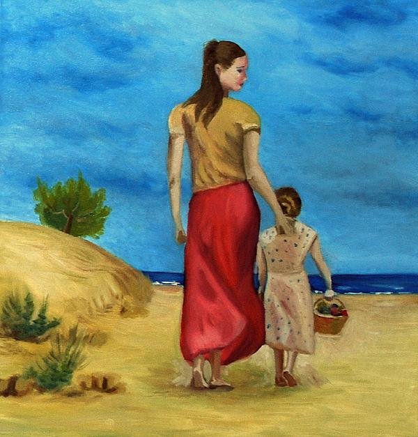 Sea Side Walk After Pino Print by Kostas Koutsoukanidis