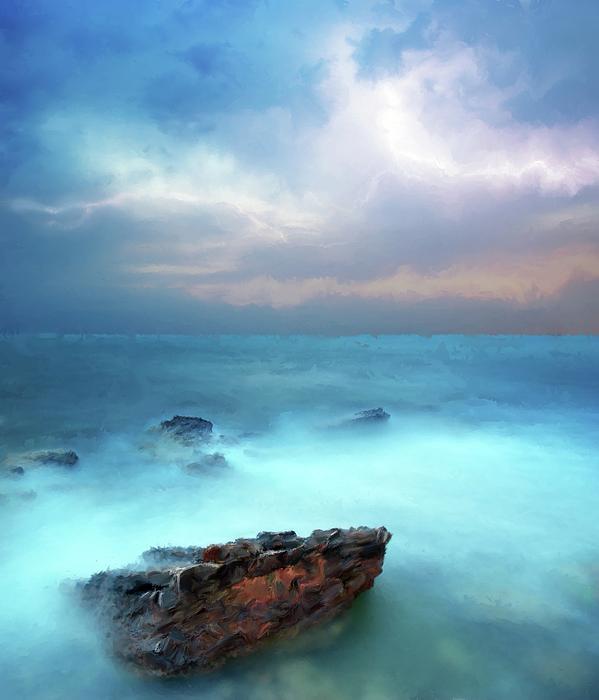 Sea Sky And Stone Print by Michael Greenaway