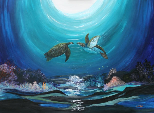 Sea Turtles Greeting Print by Myrna Walsh