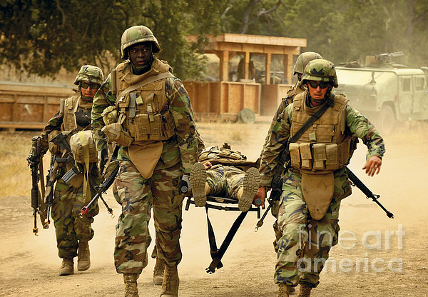 Seabees Conduct A Mass Casualty Drill Print by Stocktrek Images