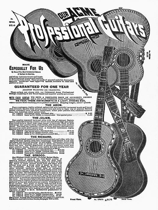 Sears Ad - Guitars 1902 Print by Granger