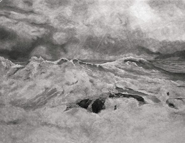 Seascape In Graphite Print by John Stuart Webbstock