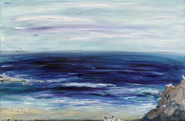 Seascape With White Cats Painting  - Seascape With White Cats Fine Art Print