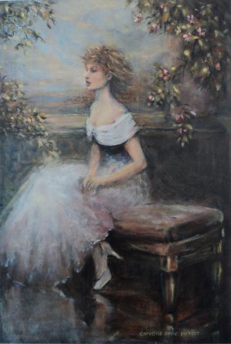 Seated Lady And Flowers Print by Caroline Anne Du Toit