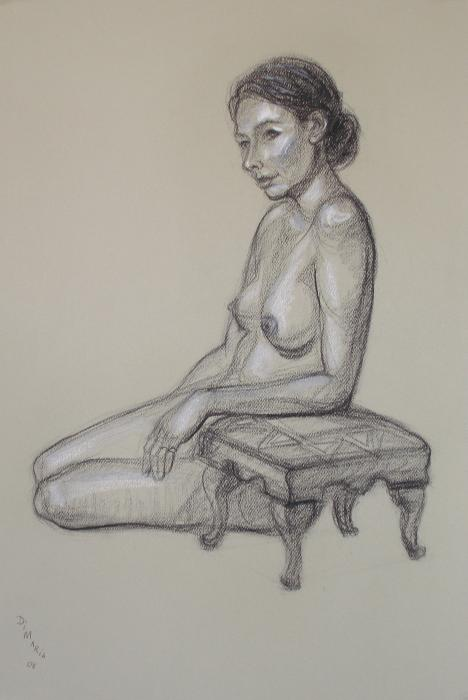 Seated Nude 3 Drawing  - Seated Nude 3 Fine Art Print