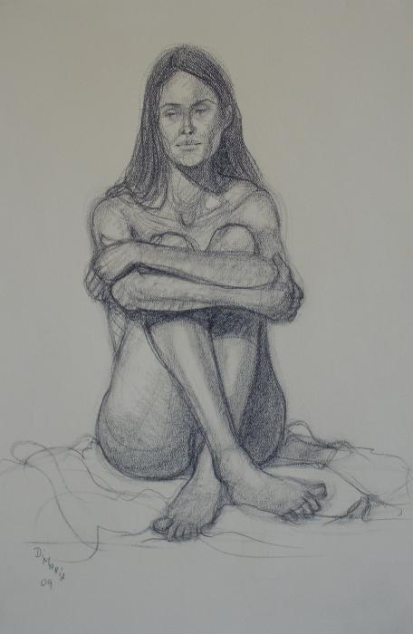 Seated Nude with Crossed Legs Drawing - Seated Nude with Crossed Legs Fine ...