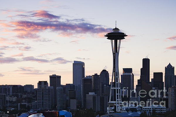 Seattle Skyline At Dusk Print by Jeremy Woodhouse